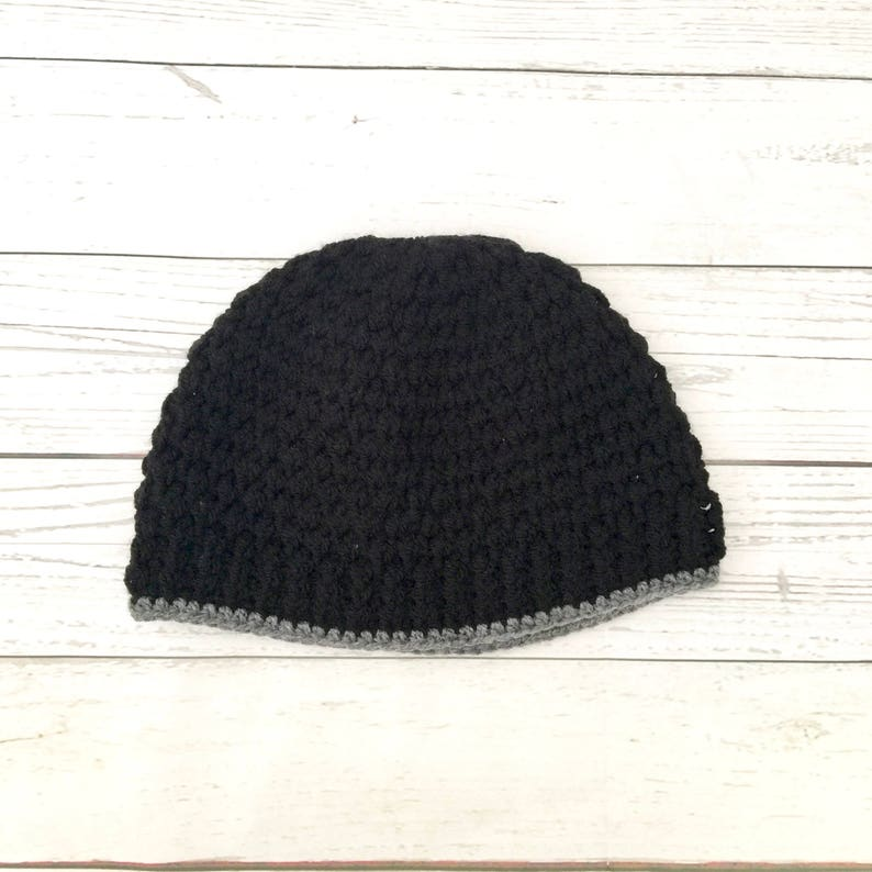 cosy winter hat black adult beanie black men/'s beanie woolly hat adult crochet hat crochet winter hat