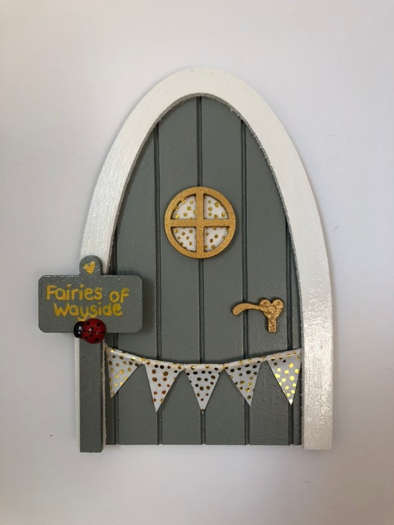 Outdoor handpainted garden fairy and elf doors, in Farrow and Ball Pigeon  with personalised sign post
