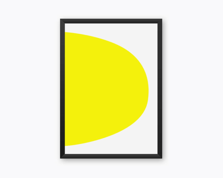 Yellow Minimal Abstract Print Modern Minimalist Hard Edge