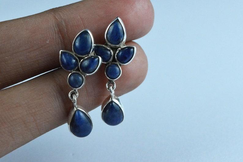 New Year Sale Earrings For Women Natural Lapis Lazuli Earrings 925 Sterling Silver Pear Earrings Lapis Earrings