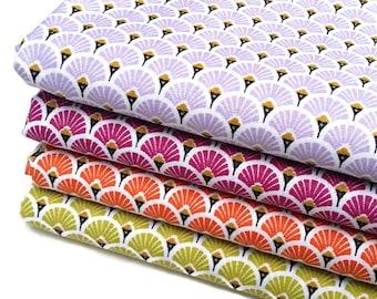 4 coupons Fat Quarter 50 cm X 50 cm - fabric purple, Plum, orange, Lemongrass green fan - art deco - Japanese fabric