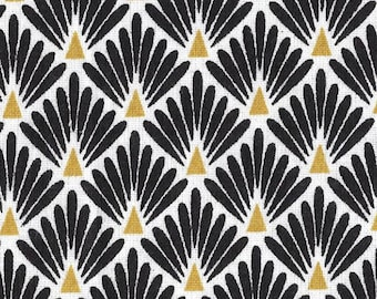Fabric scales, black and yellow art deco black fabric, 1/2 meter