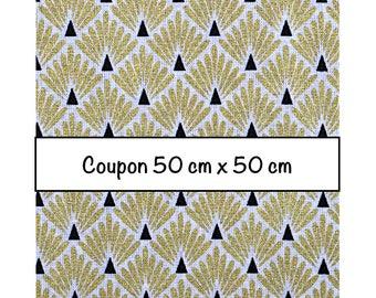 Coupon fat quarter 50 cm x 50 cm, fabric scales metallic gold, art deco