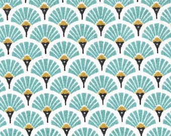Tissue paper fans - Japanese fabric - turquoise art deco fabric - 1/2 meter