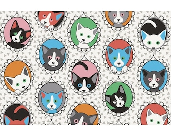 Cats Family fabric, 1/2 meter