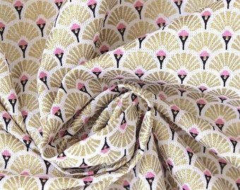 Fabric pink and gold metalic fan - Japanese fabric - fabric art deco - 1/2 meter