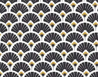 Black fabric fan fabric Japanese fabric art deco, nadège fabrics - 1/2 meter