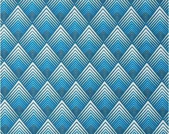 Fabric blue Patou, art deco blue fabric, 1/2 meter