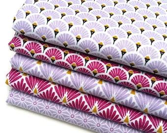 5 coupons Fat Quarter 50 cm X 50 cm - fabric purple and plum fan, plum and purple scales, saki star asanoha Lavender