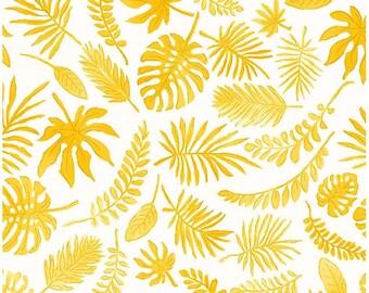 Mini yellow leaves, tropical, 1/2 meter fabric