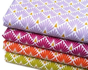 4 coupons Fat Quarter 50 cm X 50 cm - fabric purple, Plum, orange, Lemongrass green scales - art deco fabric - Robert fabrics
