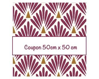 Coupon fat quarter 50 cm x 50 cm, fabric plum scales, art deco fabric