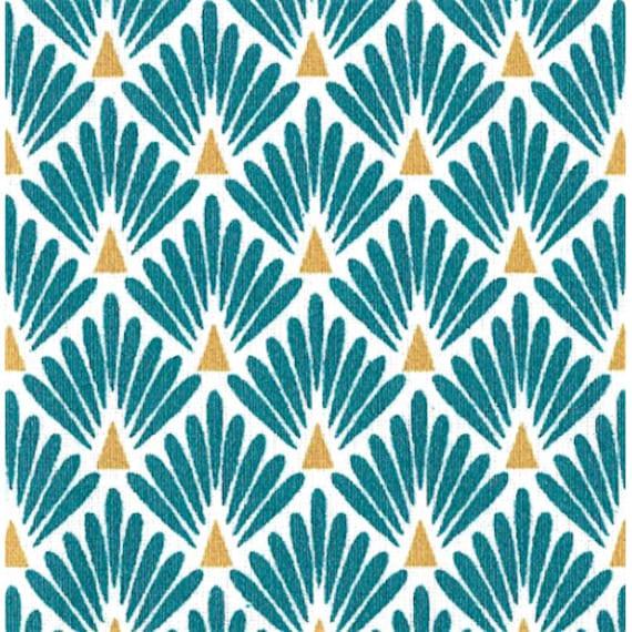 Tissu écailles bleu canard , tissu art déco bleu canard , 1/2 mètre