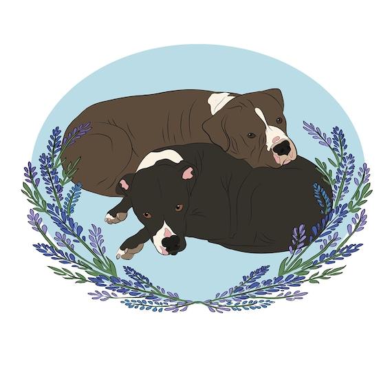 Custom Pet Portrait Pitbull Art Dog Painting Illustration Mom Etsy