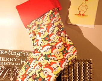 Minion Christmas Stocking with Green Ribbon