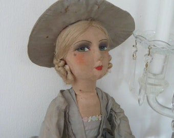 Antique French Boudoir Doll Rokcoco Baronesse Sofapuppe Doll Edwardian Style Titanic Style Decoration CoeursDeCaschel