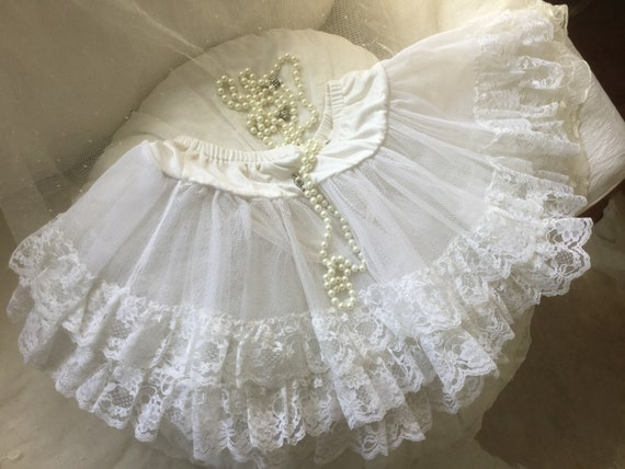 Vintage Tulle Skirt, Petticoat Brocante Lace Tulle