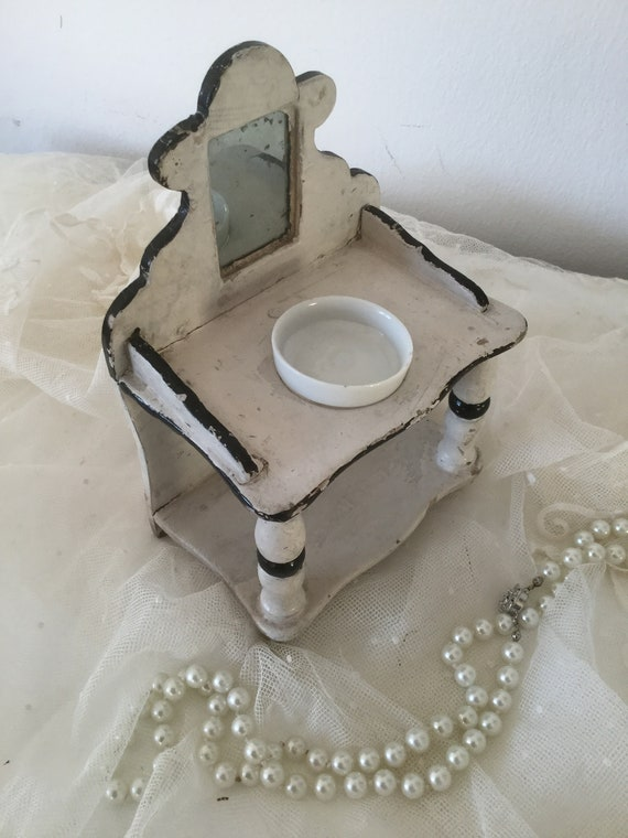 CoeursDeCaschel * Antique Lavabo with Mirror /& Wash Bowl Wash Cure Wash Commode Doll/'s House Doll/'s House Doll/'s House Doll/'s House Doll/'s House