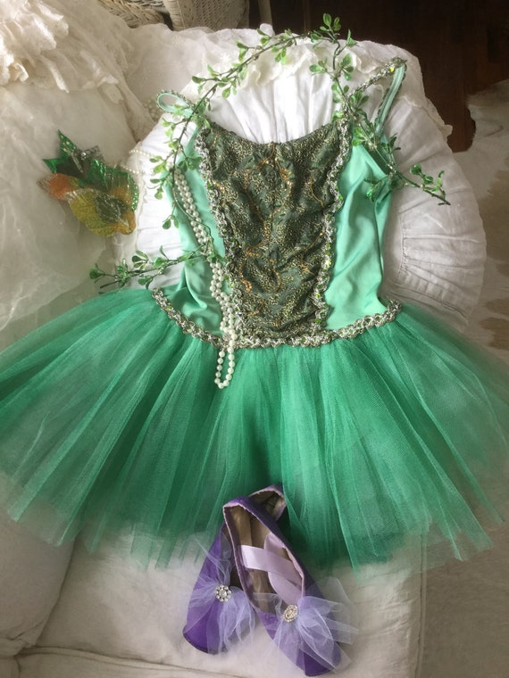 Ballet Tutu with Hair Clip & Leaf Vine Green Fores