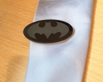 981b25f53d9d Handmade Batman/Bat Logo Tie Clasp/Clip/Pin in blsck acrylic