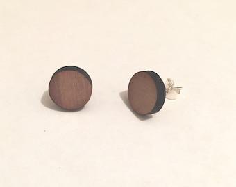Handmade ear studs in wood