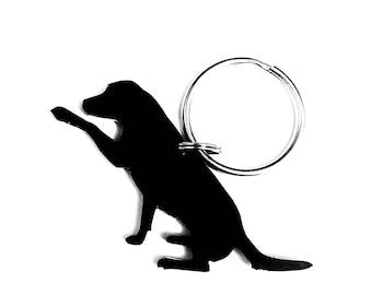 Labrador Dog With Paw Keyring Keychain Bag Charm Gift In Black