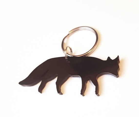 Fox Keyring Keychain Bag Charm Gift In Black With Gift Bag