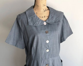 Vintage 1950s Chambray Dress - Union Made