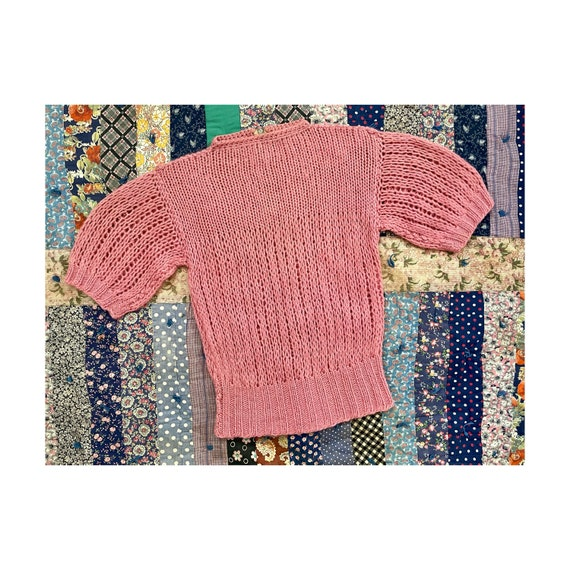 vintage 1930s 1940s hand knitted sweater - open kn