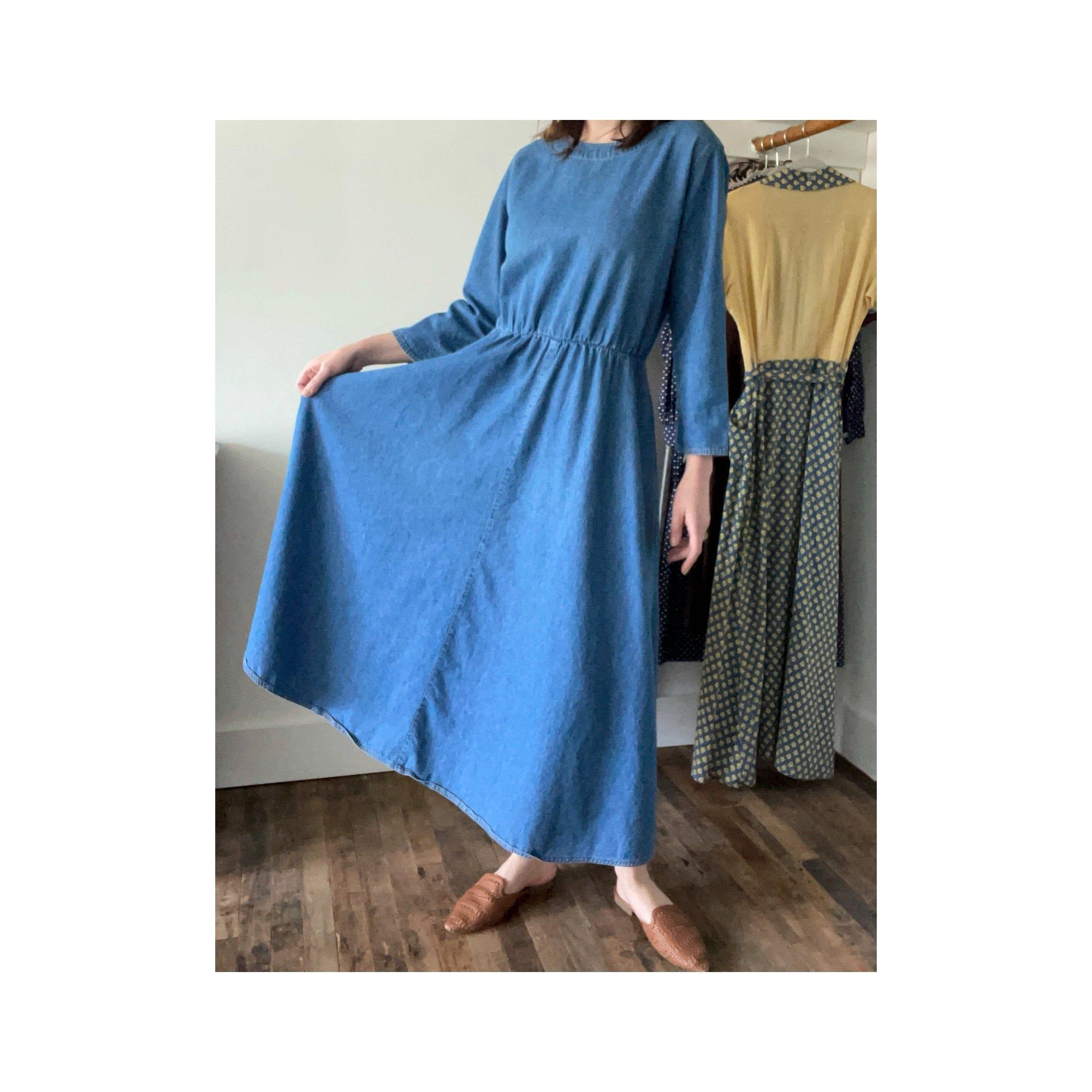 80s Dresses   Casual to Party Dresses Vintage 1980S Denim Work Dress - Long Sleeves Pockets Floor Length $0.00 AT vintagedancer.com