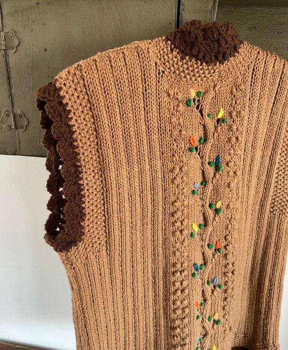 vintage 1960s 1970s hand knit crochet vest - folk… - image 7