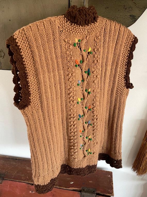 vintage 1960s 1970s hand knit crochet vest - folk… - image 6