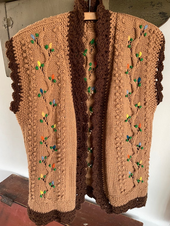 vintage 1960s 1970s hand knit crochet vest - folk… - image 2