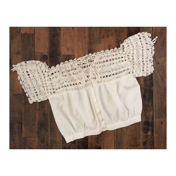 vintage crochet blouse - Edwardian/Victorian - ant