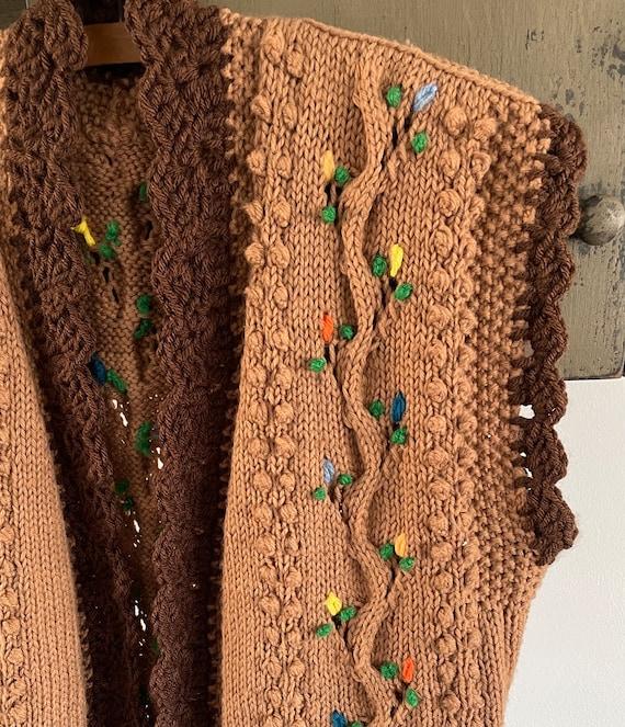 vintage 1960s 1970s hand knit crochet vest - folk… - image 5