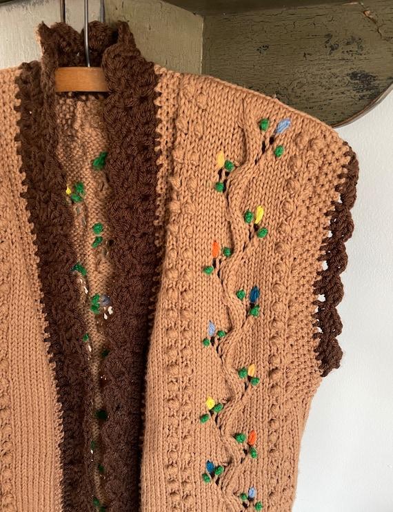 vintage 1960s 1970s hand knit crochet vest - folk… - image 3