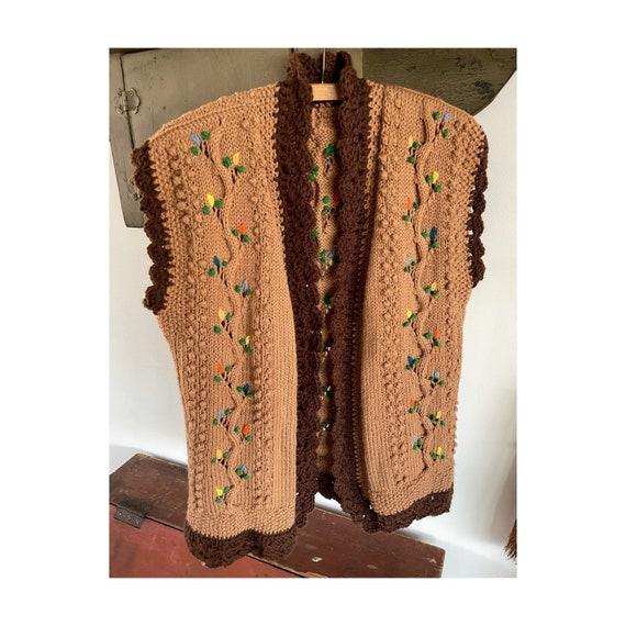 vintage 1960s 1970s hand knit crochet vest - folk… - image 1