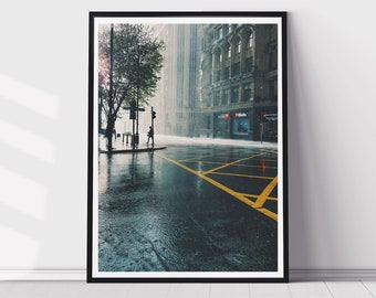 Rainy MCR Print - Manchester Deansgate - Cityscape - House Decor - Architecture Print - Manchester Print - Wall Art - Home Decor