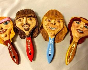 Abba, set of 4 brush head figures