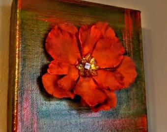 Orange flower canvas art