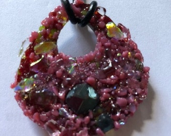 Abraxas Pendant-Faceted Garnet and Dichroic Glass