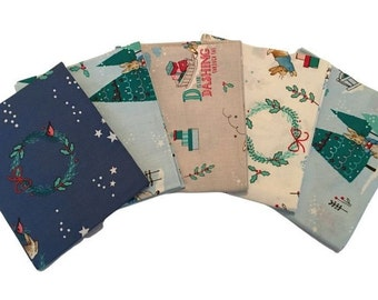 Patchwork Fabric Quilting Fabric Kids Bright Weather Design Cotton Fat Quarter Fabric Fat Quarter Bundle of 5 Crafting Fabric