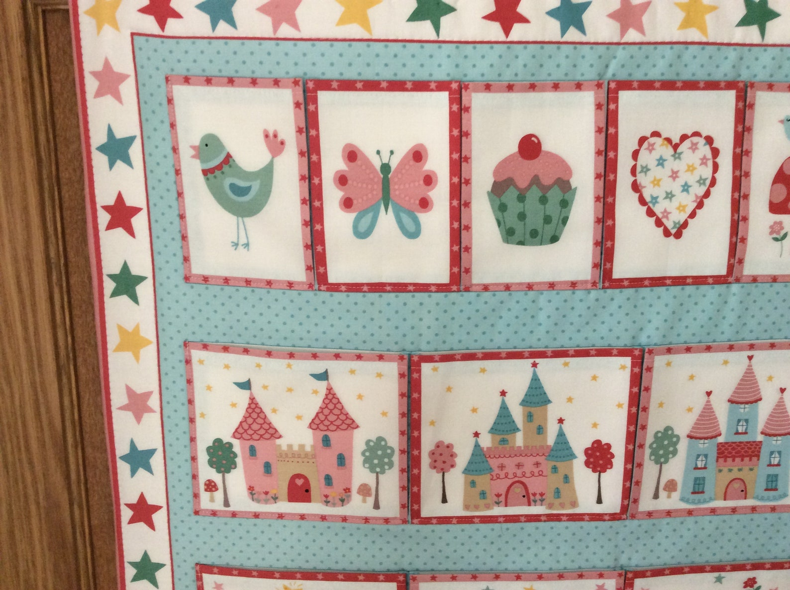 girls/childrens fabric wall hanging/storage , 11 pocket panel, princess design backed with ballet shoe design fabric, 100% cotto