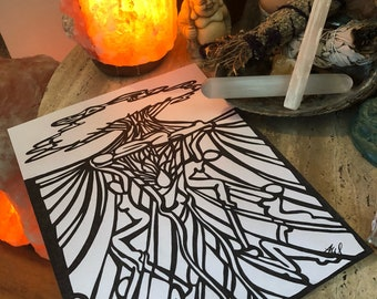 You raise me up, black and white hand drawn emotional art print, tree of life