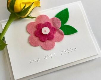 Flower Braille Get Well Soon card