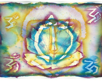 Lotus, Buddha, Eternal Circle, OM Painting by Devona Hawkins