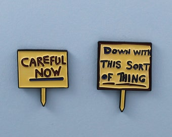 Father Ted 'Down With This Sort of Thing - Careful Now' enamel pin badge set /// funny protest lapel brooch tv television Irish comedy gift