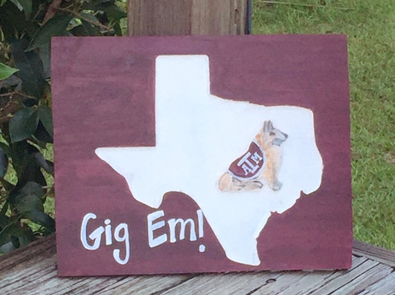 Texas A M Wood Sign Engraved Painted Aggies Gig Em Or Custom Etsy