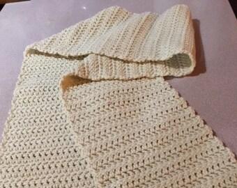 Beige handmade crochet scarf
