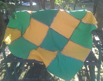 Yellow and Green Rag Edge Stadium Size Quilt made from recycled T-shirts.